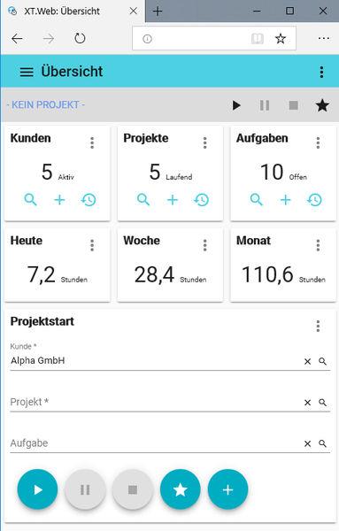 Xpert-Timer Web Oberfläche auf einem Tablet
