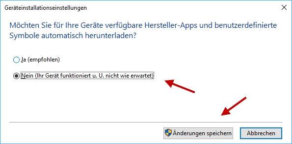 für dieGerätetreiber die Treiber-Installation über Windows Update verhindern