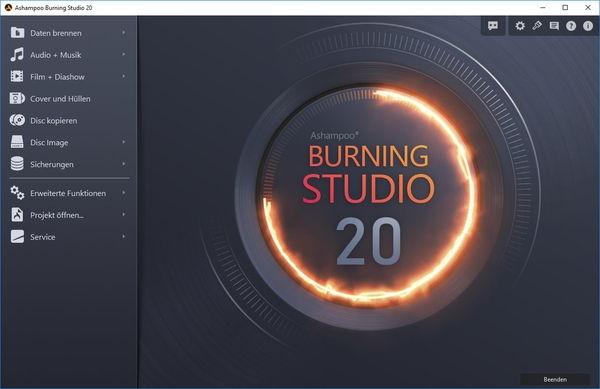 Ashampoo Burning Studio 20 Hauptfenster