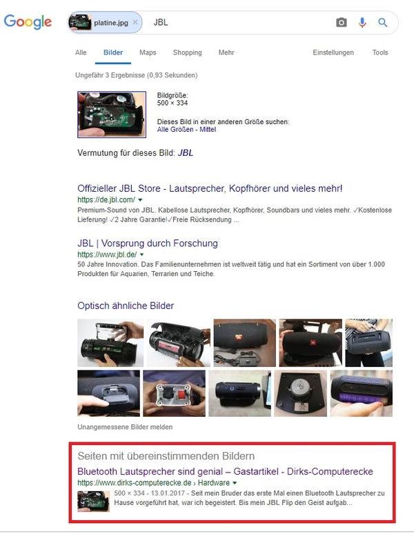 Google Bildersuche findet das Originalbild