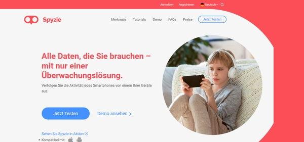 Spyzie-App Screenshot Webseite