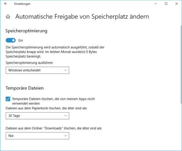 Feineinstellung für das automatische Löschen der temporären Dateien