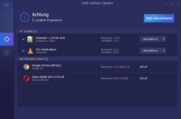 IObit Software Updater veraltete Software gefunden