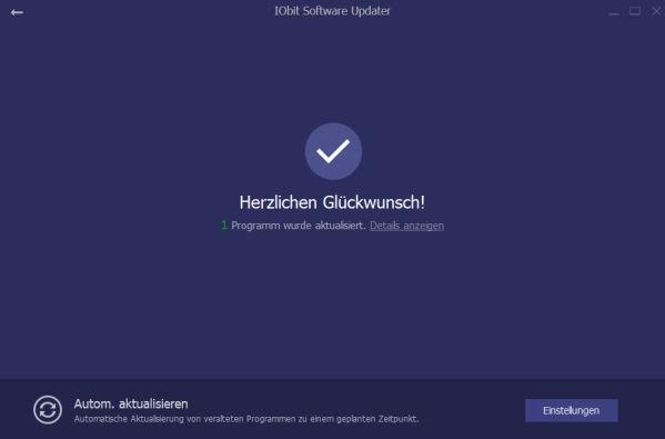 IObit Software Updater Aktualisierung erfolgreich