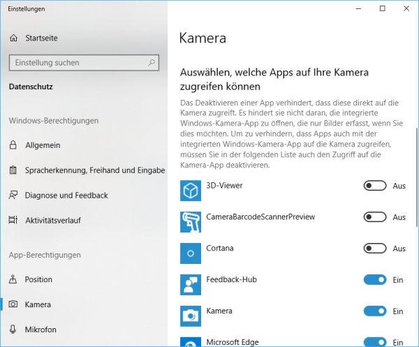 Kamerazugriff für App deaktivieren oder aktivieren
