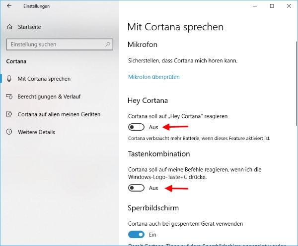 Cortana Spracherkennung aktivieren oder deaktivieren