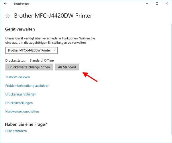 Standarddrucker festlegen bei Windows 10
