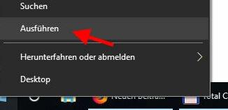Ausführen Fenster öffnen bei Windows 10