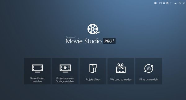 Ashampoo Movie Studio Pro 3 Screenshot Hauptmenü