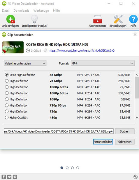4K Videos von YouTube herunterladen mit dem 4K Video Downloader