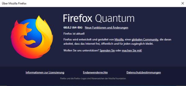 Firefox Browser 68.0.2 zum Download verfügbar