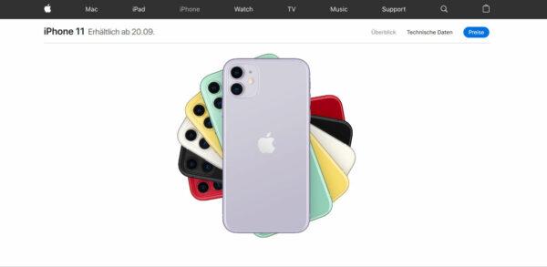 iPhone 11 Vorbestellung auf der Apple Webseite