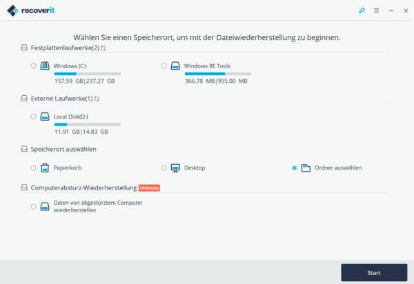 Auswahl des Datenträgers oder Verzeichnisses für die Datenwiederherstellung
