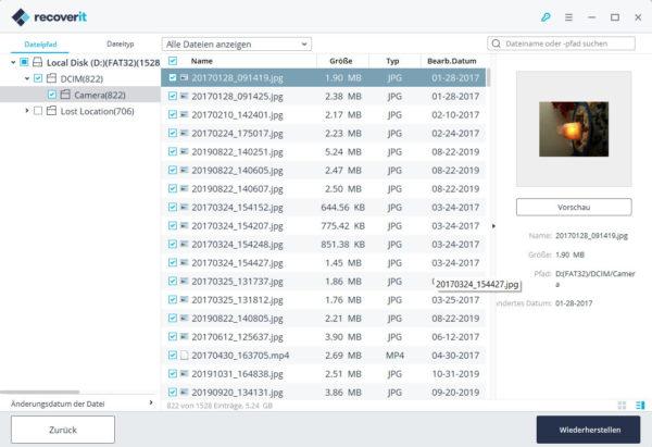 Dateien für die Wiederherstellung auswählen