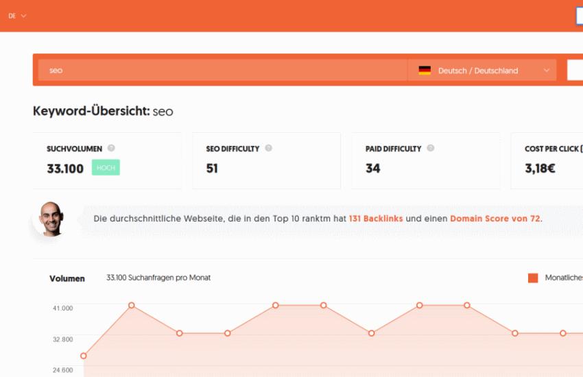 Ubersuggest Screenshot Keyword-Recherche