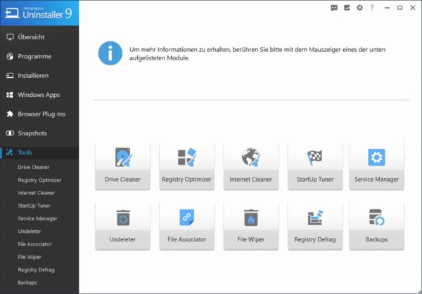 Ashampoo UnInstaller 9 Tools zur Systembereinigung