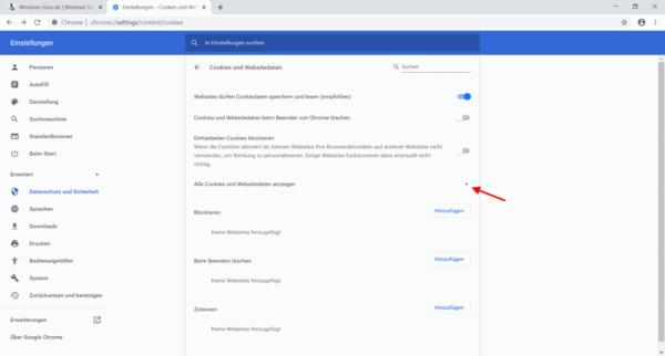 Chrome Einstellungen Cookies und Websitedaten