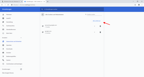 Chrome Einstellungen Alle Cookies und Websitedaten anzeigen