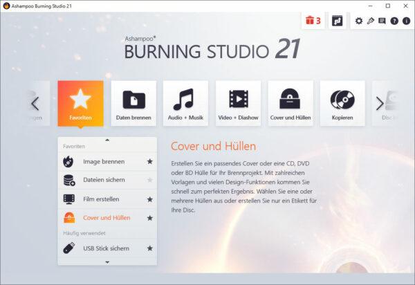 Ashampoo Burning Studio 21 überarbeitetes Design