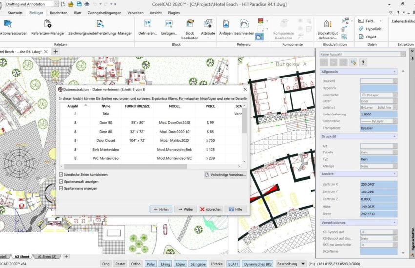 CorelCAD 2020 Datenextraktionsassistent
