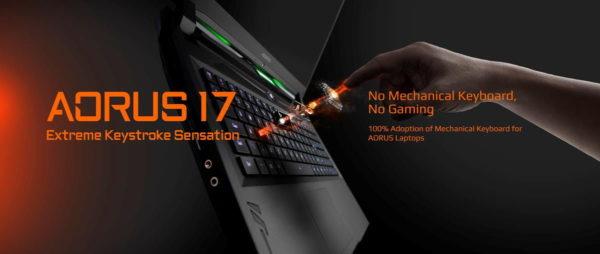 AORUS 17 Gaming-Laptop mit mechanischer Tastatur