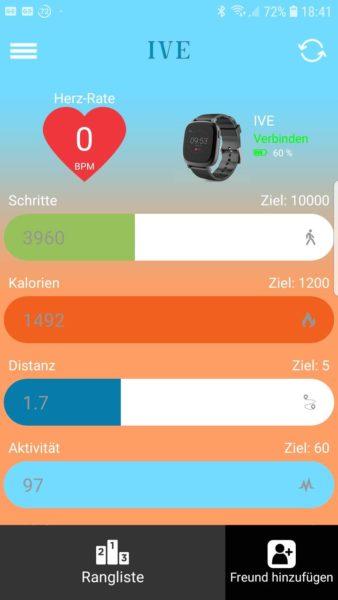 Screenshot aus der IVE XW FIT App für Android