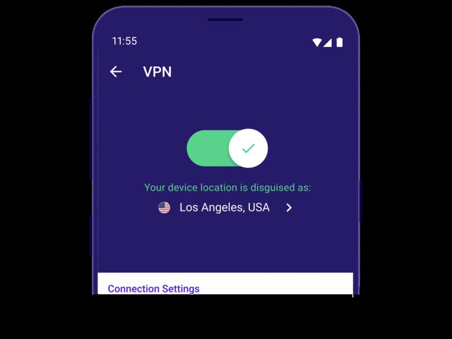 Secure Mobile Browser von Avast VPN aktiviert