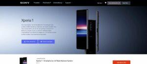 Sony Xperia 1 auf der Sony-Webseite