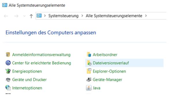 Systemsteuerung Dateiversionsverlauf