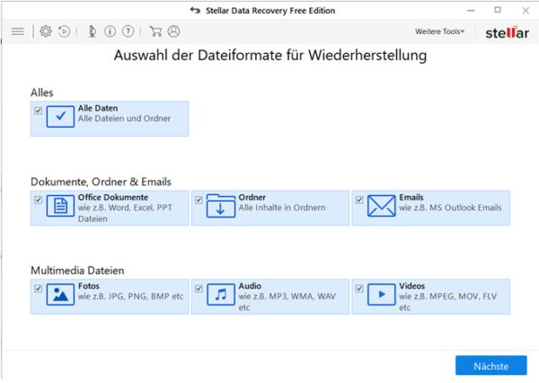 Auswahl der Dateiformate für Wiederherstellung