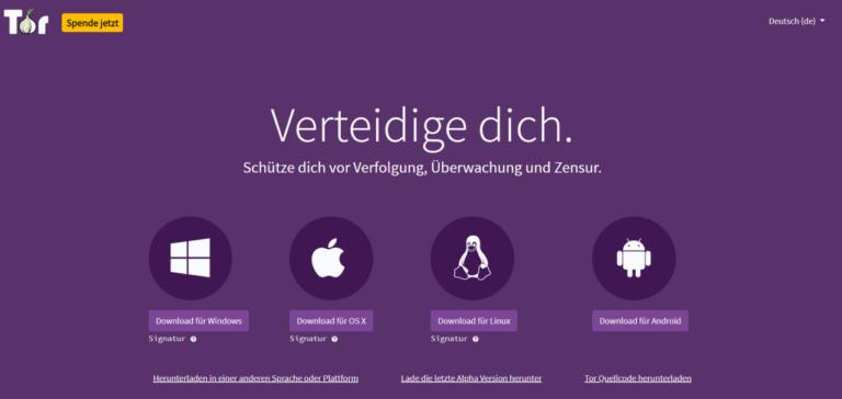 Screenshot Webseite Tor Browser