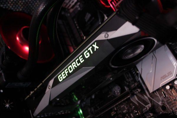 Nvidia GeForce GTX Grafikkarte auf Mainboard