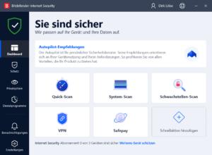 Bitdefender Internet Security Dashboard