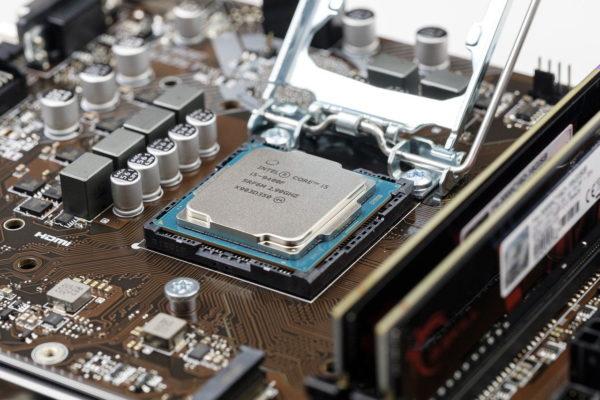 CPU Prozessor auf dem Mainboard