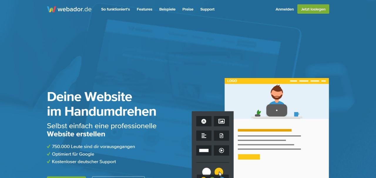 Webador.de - innovativer Homepage-Baukasten