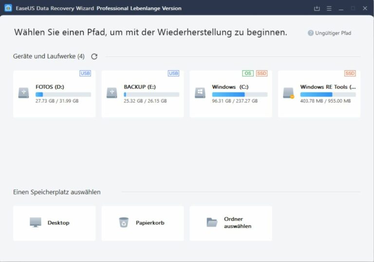 EaseUS Data Recovery Wizard Free Startbildschirm