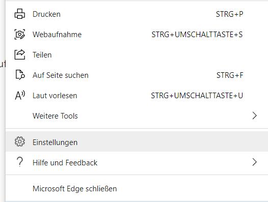 Einstellungen im Microsoft Edge öffnen
