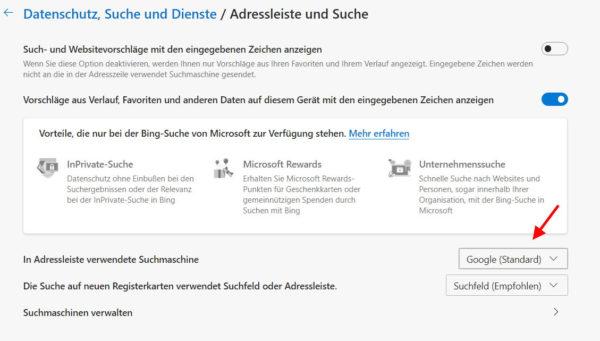 Standardsuchmaschine ändern im Microsoft Edge