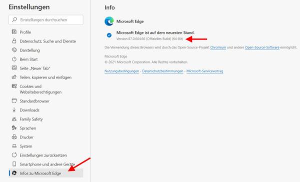 Version von Microsoft Edge herausfinden