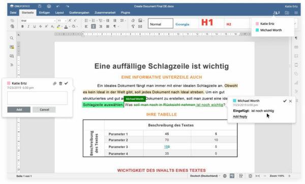Zusammenarbeit an Dokumenten in Echtzeit