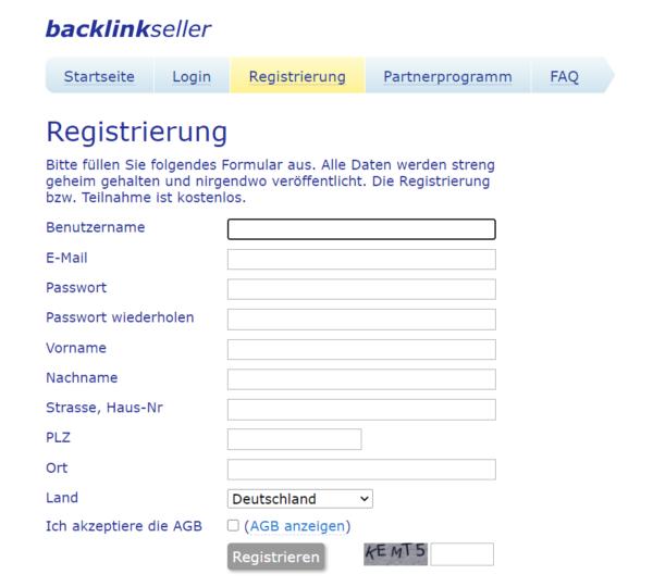 Backlinkseller Registrierung Formular