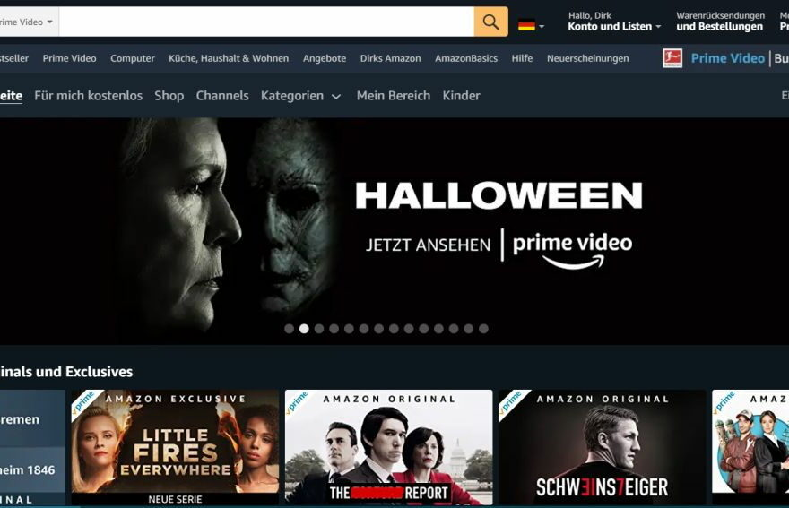 Amazon Prime Video Screenshot Webseite