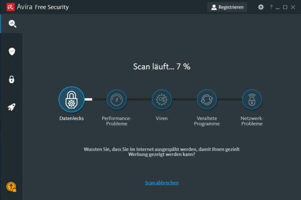 Avira Free Antivirus für Windows Scan läuft