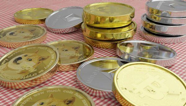 Münzen Bitcoin Dogecoin